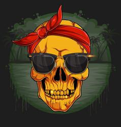 golden human skull head with red bandana vector image