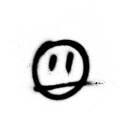 graffiti sprayed face emoticon in black on white vector image