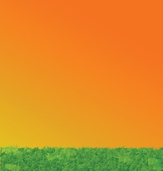 Green Grass Sunset Sky Landscape vector