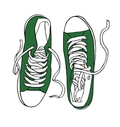 green sports sneakers with white laces vector image