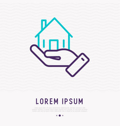 hand holding small house thin line icon vector image