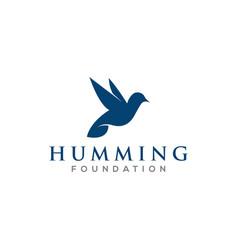 Humming bird logo silhouette simple minimalist vector