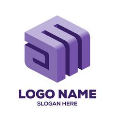 Initial am logo design vector