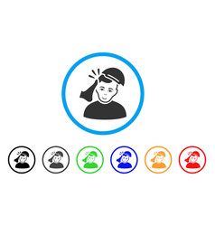 Kickboxer victim rounded icon vector
