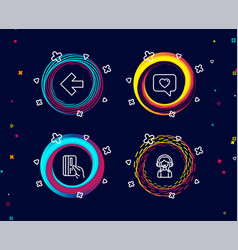 Left arrow love message and payment card icons vector