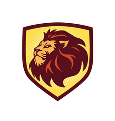 lion head logo shield template vector image