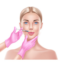 liposuction surgery doctor hand and syringe vector image