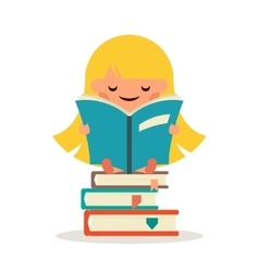 Little Happy Girl Read Fairy Tail Book Education vector image