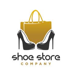 logo design shoes and womens handbag shop vector image