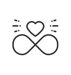 love line infinite heart icon happy valentine day vector image