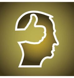 Mans head with thumbs up vector