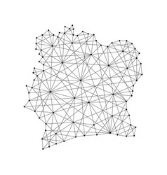 Map of ivory coast from polygonal black lines vector