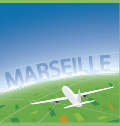 Marseille flight destination vector