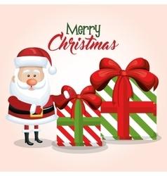 Merry christmas card santa claus and gift big vector