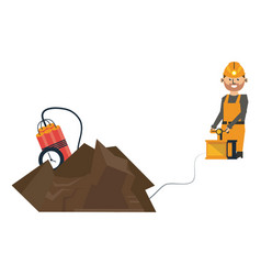 Mining with tnt and worker with detonator vector