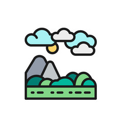 mountains and hills landscape flat color line icon vector image
