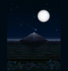 Night landscape with moon and mountain vector