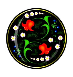 Ornament of flowers in black circle vector