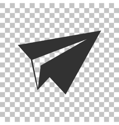 Paper airplane sign Dark gray icon on transparent vector