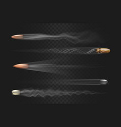 Realistic flying bullet with smoke trace isolated vector