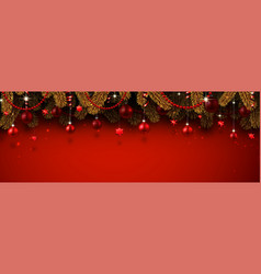 Red christmas and new year banner with fir vector