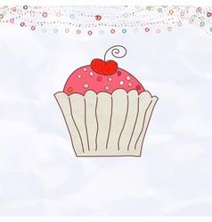 Retro Cupcake Valentines vector