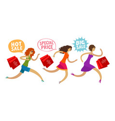 sale outlet concept girls run to the mall for vector image