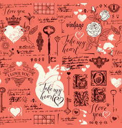 seamless pattern with love lettering and hearts vector image