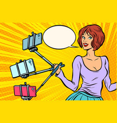 selfie stick woman vector image