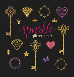 set collection golden glitter diamonds hearts vector image