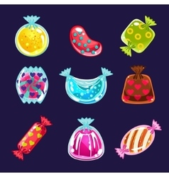 Set colorful glossy candies vector
