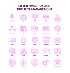 set of 25 feminish project management flat color vector image