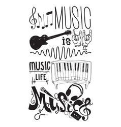 Set with isolated doodle music instruments quote vector