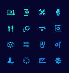 Settings options icons set with gears vector