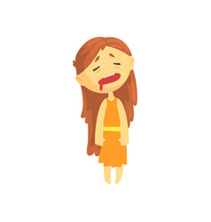 Sick girl with long hair unwell teen needing vector