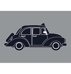 silhouette old taxi car side view vector image