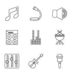 Sound producing icons set outline style vector