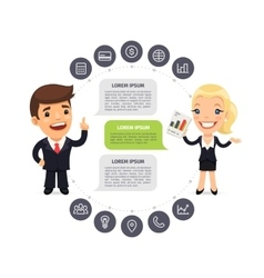 Speaking Businessmen Infographic with Icons vector