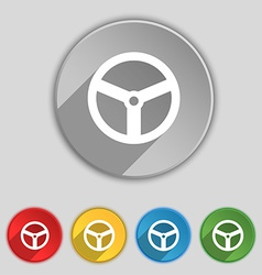 Steering wheel icon sign Symbol on five flat vector