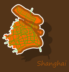 Sticker detailed shanghai city road network map vector