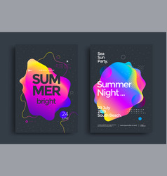 Summer bright party poster colorful liquid form vector