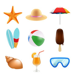 summer odjects isolate realistic icons summer vector image