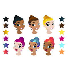 teenager girls head with different color vector image