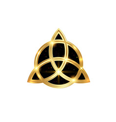 triquetra geometric logo gold trinity knot wiccan vector image