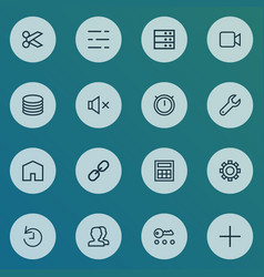 user icons line style set with second meter vector image