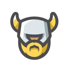 viking warrior helmet head icon cartoon vector image