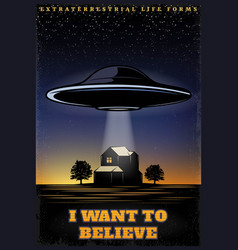 vintage colored ufo template vector image