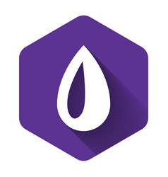 white drop icon isolated with long shadow purple vector image
