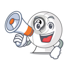 With megaphone webcam in the shape of mascot vector