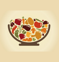 bowl with vegetables vector image vector image